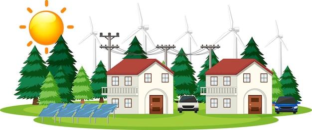 집에서 태양 전지가 어떻게 작동하는지 보여주는 다이어그램