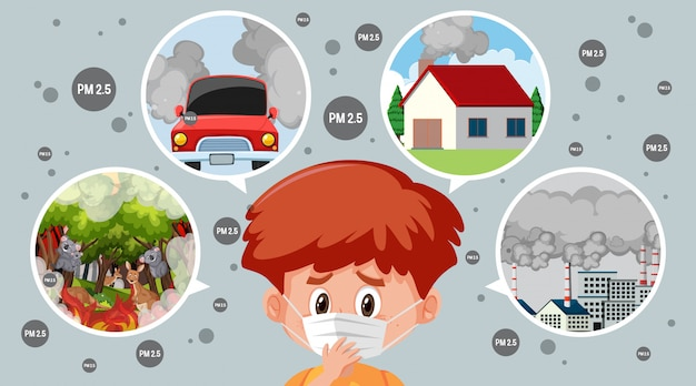 Diagram of what causes of pm 2.5 and boy wearing mask