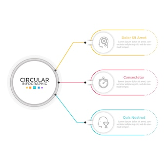 Diagram with 3 elements connected to main circle. concept of three features or stages of business process. linear infographic design template. modern vector illustration for presentation, report.