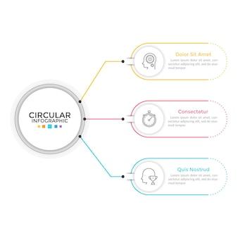 Схема с 3 элементами, соединенными с основным кругом. понятие о трех функциях или этапах бизнес-процесса. шаблон оформления линейной инфографики. современные векторные иллюстрации для презентации, отчета.