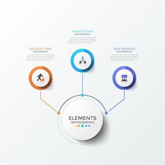 Диаграмма с 3 бумажными белыми круглыми элементами с плоскими иконками внутри, соединенными линиями с основным кругом. концепция трех бизнес-функций. творческий инфографический шаблон дизайна. современные векторные иллюстрации