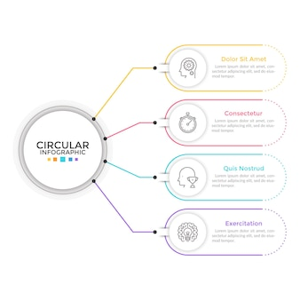 Diagram with 4 elements connected to main circle. concept of four features or stages of business process. linear infographic design template. modern vector illustration for presentation, report.
