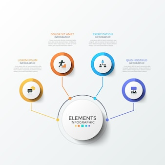 Diagram with 4 paper white round elements with flat icons inside connected to main circle by lines. concept of four business features. creative infographic design template. modern vector illustration.