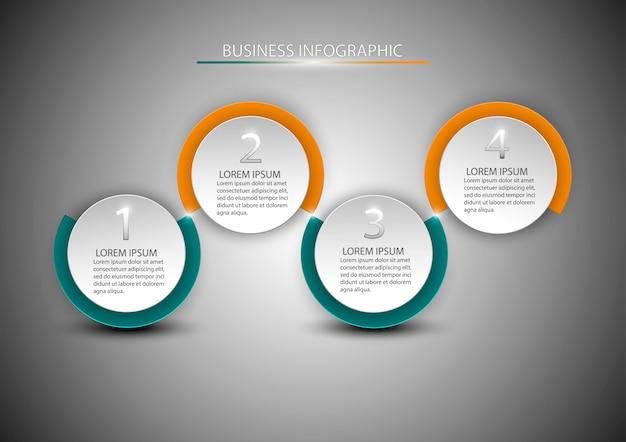 4つのステップ、オプション、部品、またはプロセスを含む図。