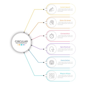 Diagram with 6 elements connected to main circle. concept of six features or stages of business process. linear infographic design template. modern vector illustration for presentation, report.