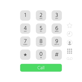 Dial keypad. touchscreen phone number keyboard interface flat illustration