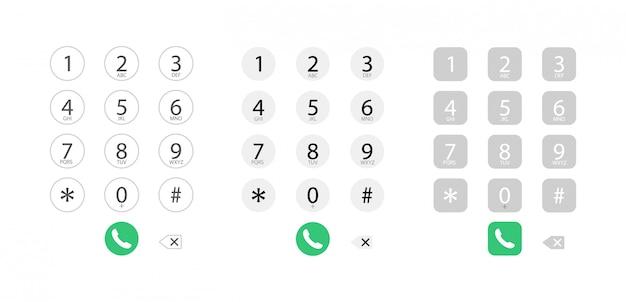 전화기의 다이얼링 인터페이스. 숫자 키보드. 전화 번호로 전화 걸기