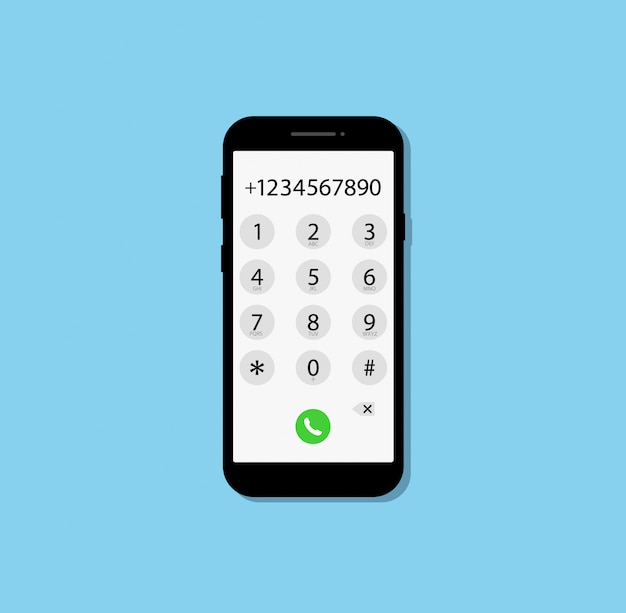 Dialing a number in phone. flat design.