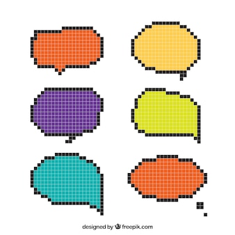 Dialog balloons set of colors in pixel art style