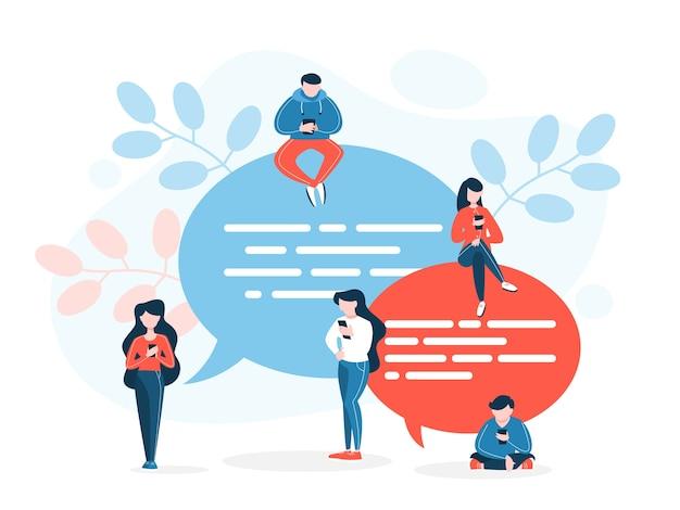 대화 개념. 소통과 연결에 대한 아이디어