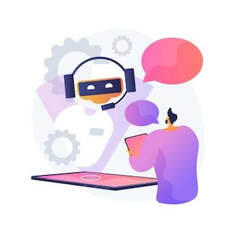 チャットボットとの対話。人工知能が質問に答えます。テクニカルサポート、インスタントメッセージング、ホットラインオペレーター。 aiアシスタント。クライアントボットコンサルタント。ベクトル分離された概念の比喩の図。