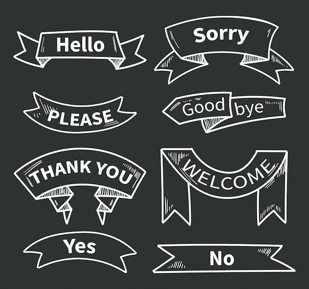 Dialog words on ribbons. short phrases. thank you and hello, please and yes, sorry and welcome. ribbon sticker thank you on chalkboard. vector illustration