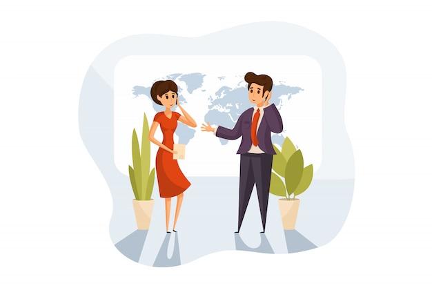 Диалог, международное общение, бизнес-концепция.