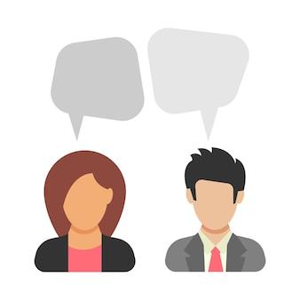 대화. 남자와 여자가 이야기하고 있습니다. 비즈니스 정장을 입은 남자와 여자 사이의 토론. 평면 스타일에 사람 아이콘입니다. 벡터 일러스트 레이 션