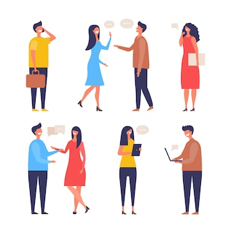 Dialogue people. communication characters web chat discuss businessman active discussion flat pictures