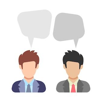 대화. 두 남자가 이야기하고 있습니다. 비즈니스 정장을 입은 남자들 사이의 토론. 평면 스타일에 사람 아이콘입니다. 벡터 일러스트 레이 션