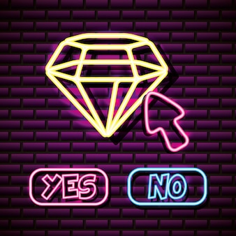 Diamon and mouse pointer in neon style, video games related