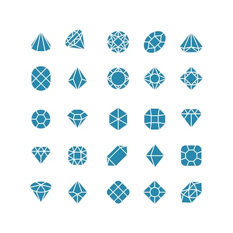 Diamond abstract icons. expensive jewelry vector symbols
