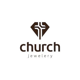 ダイヤモンドと教会のロゴアイコンのデザインテンプレート