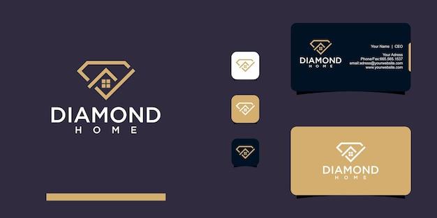 다이아몬드 및 홈 로고 명함 디자인
