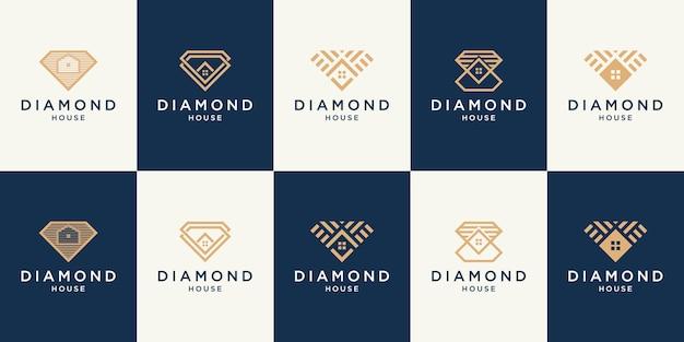 ロゴとアイコンセットを構築するための不動産シンボルのダイヤモンドと家の抽象的なデザインコンセプト