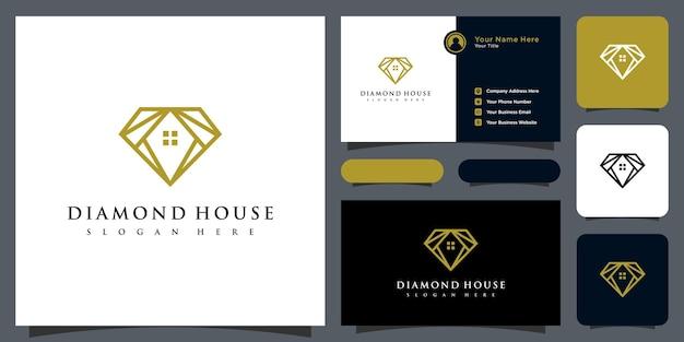 ダイヤモンドと家のロゴのベクトルのデザインと名刺