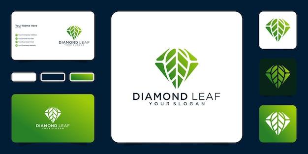 ダイヤモンドと葉のロゴデザインのインスピレーションと名刺のデザイン