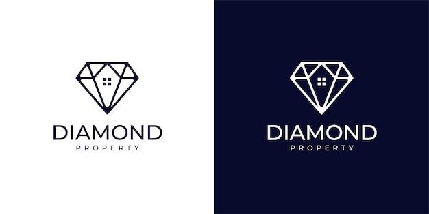 ダイヤモンドとプロパティのロゴデザインのインスピレーション。不動産のロゴ。