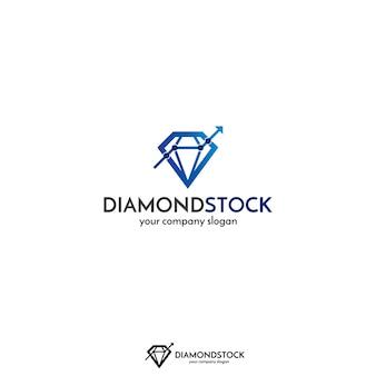 株式市場、金融、またはビジネスのためのダイヤモンドと株式グラフのラインロゴの概念。