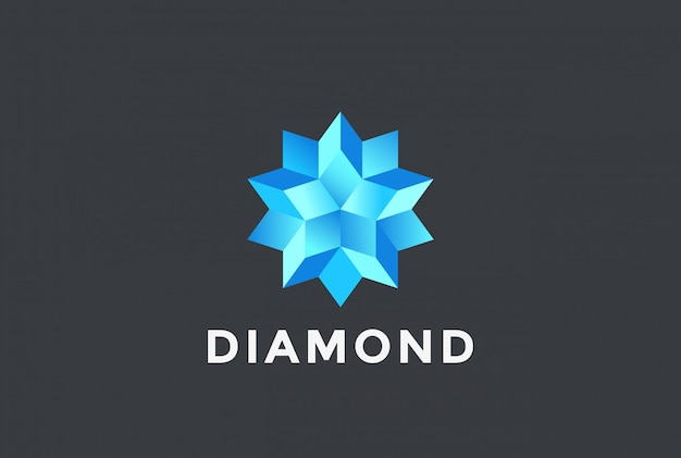 Logo stella blu diamante.