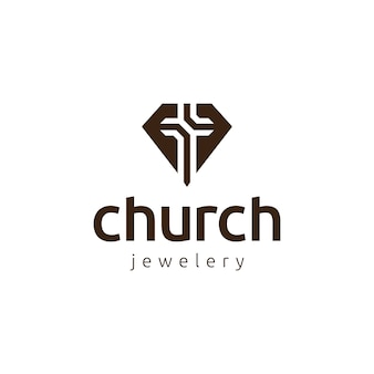 Diamond and church logo icon design template