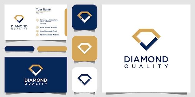 ダイヤモンド結合チェックマークロゴベクトルテンプレート。と名刺のデザイン