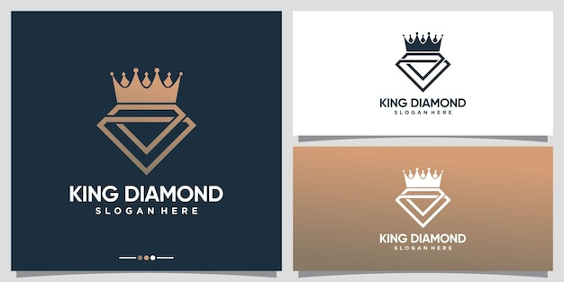 Diamond and crown logo with creative unique concept and business card design premium vector