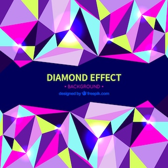 Diamond effect background with colored shapes