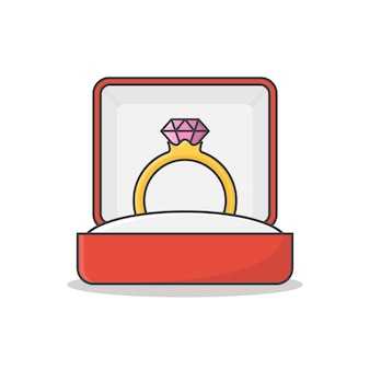Diamond engagement ring in box vector icon illustration. wedding golden ring in a gift box flat icon