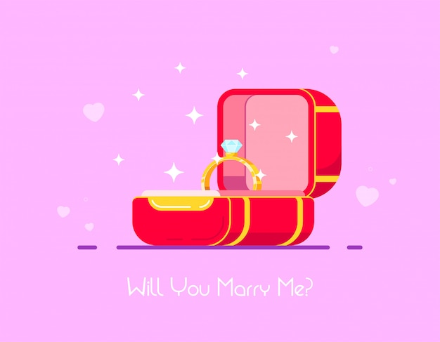 Diamond engagement ring in red box. wedding proposal and love concept. flat style vector illustration.