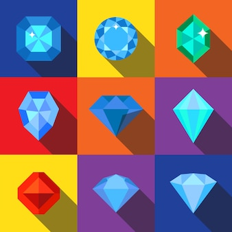Diamond flat icons set