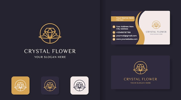 Diamond flower space line logo Premium Vector