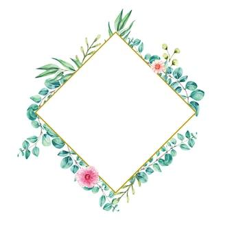 Diamond frame watercolor illustration leaf eucalyptus
