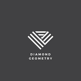 Diamond geometry abstract minimal  sign, symbol or logo template.