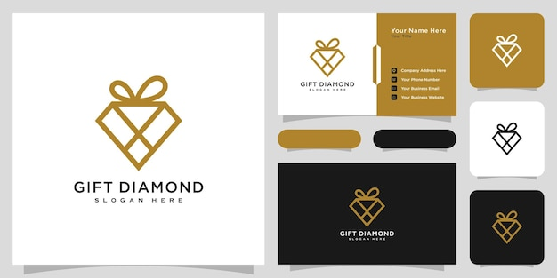 Diamond gift logo vector design and business card