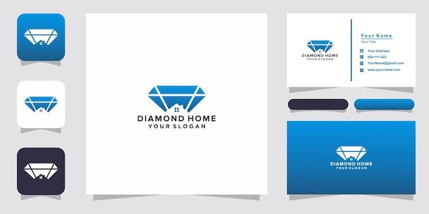 Diamond home logo and business card Premium Vector