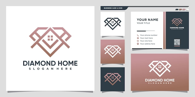 Diamond and home logo with line art style and business card design premium vector