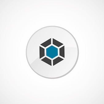 다이아몬드 아이콘 2 색, 회색 및 파란색, 원형 배지