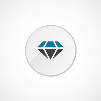 Diamond icon 2 colored, gray and blue, circle badge