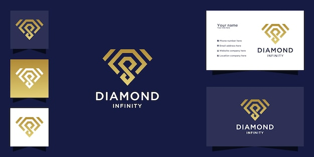 Diamond infinity logo with gold color design