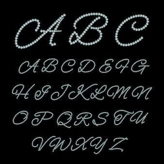 ダイヤモンドジュエリーのアルファベット。ラグジュアリーグラマーフォント、クリスタルダイヤモンド、abcジェム