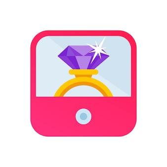 Diamond jewelry golden wedding ring on pink box as app vector icon flat cartoon illustration clipart