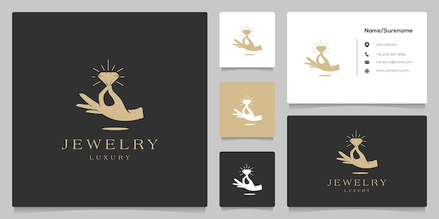 Diamond jewelry in hand luxury logo design illustration with business card