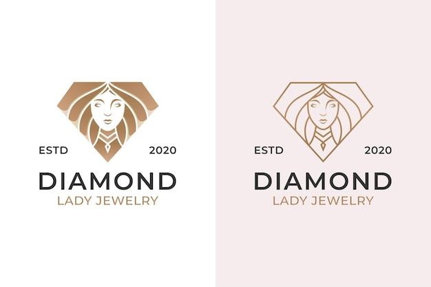 Diamond jewelry with beauty woman logo. luxury beautiful diamond and line art style design